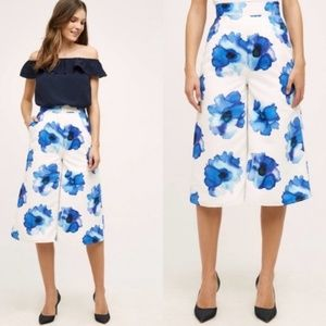 Anthro Cropped Wide Leg Floral Culottes Motif Camb